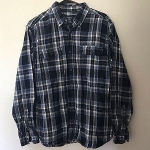 Blue checkered men's flannel